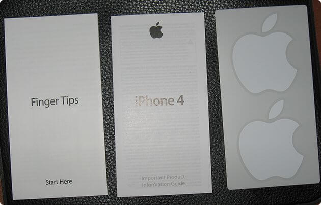 Документация, finger tips и 2 логотипа телефона