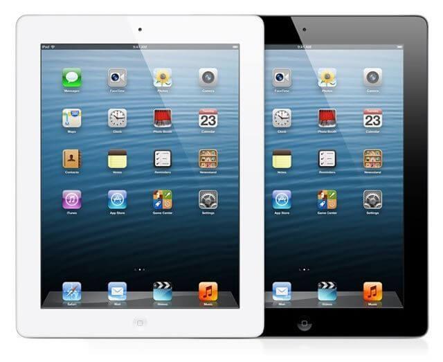 Apple iPad 4 в черном и белом цветах