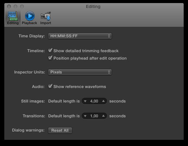 Основный настройки редактирования