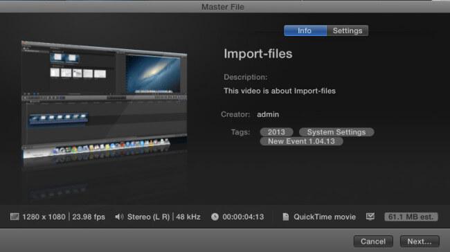Экспорт видео в FInal Cut Pro X
