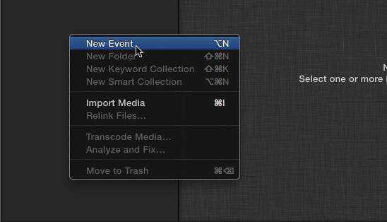 Создание нового события в Final Cut Pro X