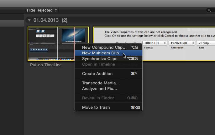 Монтаж с нескольких камер в Final Cut Pro X